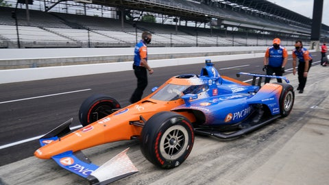<p>               Scott Dixon, of New Zealand, pulls out fo the pits during a practice session for the Indianapolis 500 auto race at Indianapolis Motor Speedway, Wednesday, Aug. 12, 2020, in Indianapolis. (AP Photo/Darron Cummings)             </p>