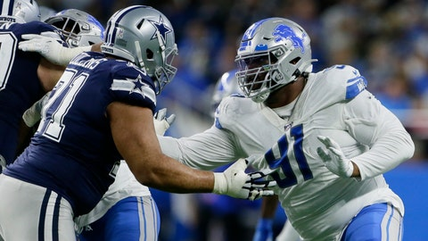 <p>               File-Detroit Lions defensive tackle A'Shawn Robinson (91) is blocked by Dallas Cowboys offensive tackle La'el Collins (71) during the second half of an NFL football game, Sunday, Nov. 17, 2019, in Detroit. New Los Angeles Rams defensive tackle Robinson is sidelined indefinitely with a non-football injury, coach Sean McVay says. The Rams put Robinson on the active/non-football injury list Saturday, and McVay discussed their new signee's prognosis Sunday, Aug. 9, 2020, without disclosing the nature of Robinson's condition, which isn't coronavirus-related. (AP Photo/Duane Burleson, File)             </p>