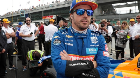 <p>               FILE - In this file photo dated Sunday, May 19, 2019, Fernando Alonso, of Spain, prepares to drive during qualifications for the Indianapolis 500 IndyCar auto race at Indianapolis Motor Speedway, in Indianapolis, Ind. Fernando Alonso feels far better about his chances to close out motorsports' version of the Triple Crown in 2020. The Spaniard will race for Arrow McLaren SP in the Indianapolis 500 in May and believes the organization is prepared. (AP Photo/Michael Conroy, File)             </p>
