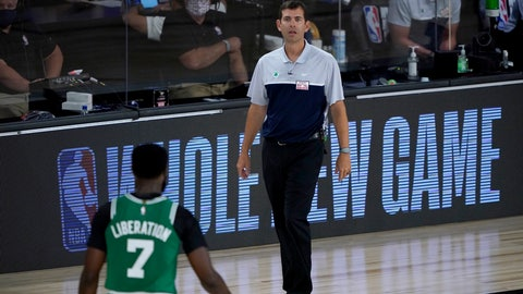 <p>               iBoston Celtics head coach Brad Stevens looks toward Jaylen Brown (7) during the first half of an NBA basketball game against the Milwaukee Bucks Friday, July 31, 2020, in Lake Buena Vista, Fla. (AP Photo/Ashley Landis, Pool)             </p>