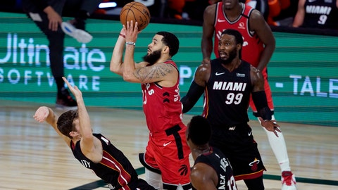 <p>               Toronto Raptors' Fred VanVleet (23) shoots as Miami Heat's Goran Dragic tries to draw the offensive foul during the second half of an NBA basketball game Monday, Aug. 3, 2020, in Lake Buena Vista, Fla. The Raptors won 107-103. (AP Photo/Ashley Landis, Pool)             </p>
