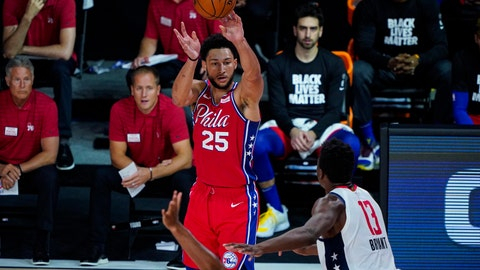 <p>               Philadelphia 76ers guard Ben Simmons (25) shoots over Washington Wizards center Thomas Bryant (13) during the second half of an NBA basketball game Wednesday, Aug. 5, 2020 in Lake Buena Vista, Fla. (AP Photo/Ashley Landis)             </p>