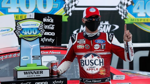 <p>               Kevin Harvick celebrates after winning a NASCAR Cup Series auto race at Michigan International Speedway in Brooklyn, Mich., Sunday, Aug. 9, 2020. (AP Photo/Paul Sancya)             </p>