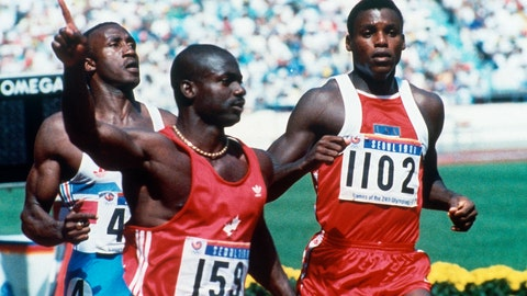 <p>               FILE - In this Sept. 25, 1988, file photo, Canadian Ben Johnson, left, signals victory ahead of the United States' Carl Lewis, as he wins the 100-meter final at the Summer Olympic Games in Seoul, South Korea. (AP Photo/Rick Wilking, File)             </p>