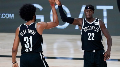 <p>               Brooklyn Nets' Jarrett Allen (31) and Caris LeVert (22) react after a play against the Sacramento Kings during the first half of an NBA basketball game Friday, Aug. 7, 2020 in Lake Buena Vista, Fla. (AP Photo/Ashley Landis, Pool)             </p>