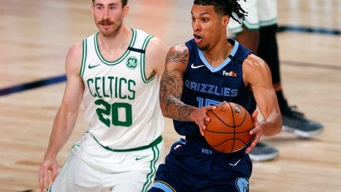 <p>               Memphis Grizzlies' Brandon Clarke (15) handles the ball as Boston Celtics' Gordon Hayward (20) defends during the second half of an NBA basketball game Tuesday, Aug. 11, 2020, in Lake Buena Vista, Fla. (AP Photo/Mike Ehrmann, Pool)             </p>