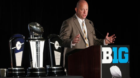 <p>               FILE - In this July 19, 2019, file photo, Purdue head coach Jeff Brohm responds to a question during the Big Ten Conference NCAA college football media days, in Chicago. Brohm believes college football can be played in the spring and next fall. And he even has a formal proposal. Just two days after the Big Ten announced it would postpone all fall sports, Brohm released a seven-page plan that calls for an eight-game conference only spring season followed by 10-game falls season. (AP Photo/Charles Rex Arbogast, File)             </p>