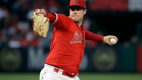 <p>               FILE - In this June 29, 2019, file photo, Los Angeles Angels starting pitcher Tyler Skaggs throws to the Oakland Athletics during a baseball game in Anaheim, Calif. Federal prosecutors say a former Angels employee has been charged with conspiracy to distribute fentanyl in connection with last year's overdose death of Angels pitcher Tyler Skaggs. Prosecutors in Texas say Eric Prescott Kay was arrested in Fort Worth, Texas, and made his first appearance Friday, Aug. 7, 2020, in federal court. Kay was communications director for the Angels. (AP Photo/Marcio Jose Sanchez, File)             </p>