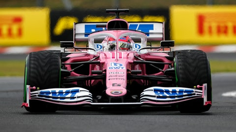 <p>               Racing Point driver Sergio Perez of Mexico steers his car during the the Hungarian Formula One Grand Prix race at the Hungaroring racetrack in Mogyorod, Hungary, Sunday, July 19, 2020. (Leonhard Foeger/Pool via AP)             </p>