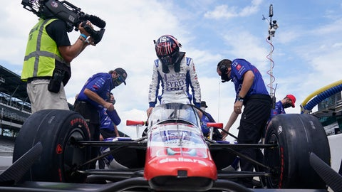 <p>               James Davison, of Australia, climbs into his car during a practice session for the Indianapolis 500 auto race at Indianapolis Motor Speedway, Friday, Aug. 14, 2020, in Indianapolis. (AP Photo/Darron Cummings)             </p>
