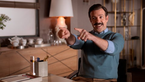 "<p>               This image released by Apple TV Plus shows Jason Sudeikis in ""Ted Lasso,"" premiering globally on Friday, August 14, on Apple TV Plus. (Apple TV Plus via AP)             </p>"
