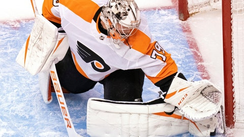 <p>               Philadelphia Flyers goaltender Carter Hart (79) makes a save against the Tampa Bay Lightning during the second period of an NHL hockey playoff game Saturday, Aug. 8, 2020, in Toronto. (Frank Gunn/The Canadian Press via AP)             </p>