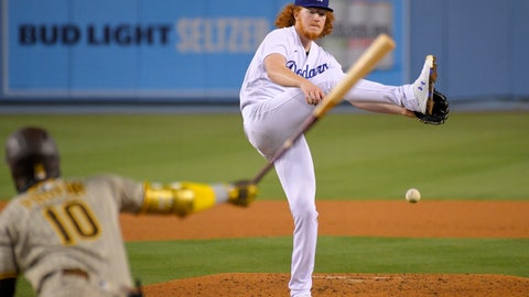 <p>               Los Angeles Dodgers starting pitcher Dustin May, right, tires to catch a comeback shot hit by San Diego Padres' Jurickson Profar as Profar grounds out during the fifth inning of a baseball game Monday, Aug. 10, 2020, in Los Angeles. (AP Photo/Mark J. Terrill)             </p>