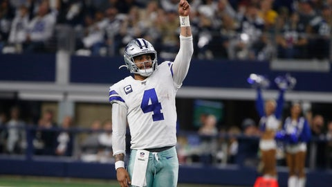 <p>               FILE-Dallas Cowboys quarterback Dak Prescott (4) celebrates a touchdown against the Washington Redskins during the second half of an NFL football game in Arlington, Texas, Sunday, Dec. 15, 2019.  Prescott stuck with his virtual hiatus trying to get a long-term contract that never came during the offseason. Now that the star quarterback of the Dallas Cowboys is in the building preparing to play on the $31.4 million franchise tag, Prescott doesn't see an immediate need for questions about his future with America's Team. (AP Photo/Ron Jenkins, File)             </p>