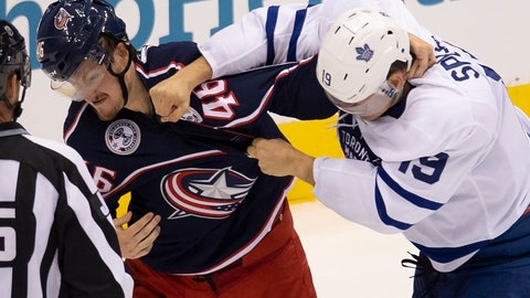 <p>               Toronto Maple Leafs center Jason Spezza (19) lands a punch on Columbus Blue Jackets defenseman Dean Kukan (46) during the second period of an NHL hockey playoff game Friday, Aug. 7, 2020, in Toronto. (Frank Gunn/The Canadian Press via AP)             </p>