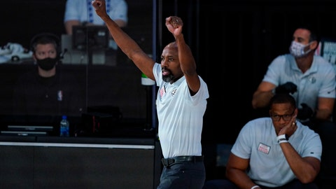 <p>               Brooklyn Nets head coach Jacque Vaughn during the first half of an NBA basketball game against the Milwaukee Bucks Tuesday, Aug. 4, 2020 in Lake Buena Vista, Fla. (AP Photo/Ashley Landis)             </p>