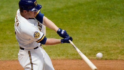 <p>               Milwaukee Brewers' Jedd Gyorko hits a two-run home run during the eighth inning of a baseball game against the Minnesota Twins Tuesday, Aug. 11, 2020, in Milwaukee. (AP Photo/Morry Gash)             </p>