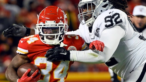 <p>               FILE - In this Dec. 1, 2019, file photo, Kansas City Chiefs running back Darwin Thompson (34) gets past Oakland Raiders defensive tackle P.J. Hall (92) during the second half of an NFL football game in Kansas City, Mo., The Minnesota Vikings have acquired Hall from the Raiders for a conditional seventh-round draft pick in 2021. Hall provides reinforcement for the interior for the Vikings after the opt-out by expected starter Michael Pierce. (AP Photo/Reed Hoffmann, File)             </p>