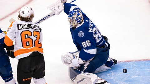 <p>               Philadelphia Flyers right wing Nicolas Aube-Kubel (62) scores on Tampa Bay Lightning goaltender Andrei Vasilevskiy (88) during the first period of an NHL hockey playoff game Saturday, Aug. 8, 2020, in Toronto. (Frank Gunn/The Canadian Press via AP)             </p>