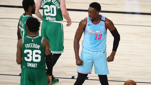 <p>               Miami Heat forward Bam Adebayo (13) reacts after scoring and getting fouled against the Boston Celtics during the second half of an NBA basketball game Tuesday, Aug. 4, 2020, in Lake Buena Vista, Fla. (Kim Klement/Pool Photo via AP)             </p>