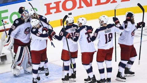 <p>               Columbus Blue Jackets goaltender Joonas Korpisalo (70) and teammates celebrate after defeating the Toronto Maple Leafs in an NHL hockey playoff game Sunday, Aug. 9, 2020, in Toronto. The Maple Leafs were eliminated from the playoffs. (Nathan Denette/The Canadian Press via AP)             </p>
