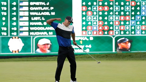 <p>               FILE - In this May 19, 2019, file photo, Brooks Koepka reacts after winning the PGA Championship golf tournament at Bethpage Black in Farmingdale, N.Y. Koepka goes for a third straight PGA Championship title this week in San Francisco. (AP Photo/Seth Wenig, File)             </p>