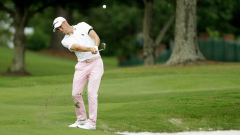 <p>               Justin Thomas hits from the rough on the 16th hole during the final round of the World Golf Championship-FedEx St. Jude Invitational Sunday, Aug. 2, 2020, in Memphis, Tenn. (AP Photo/Mark Humphrey)             </p>