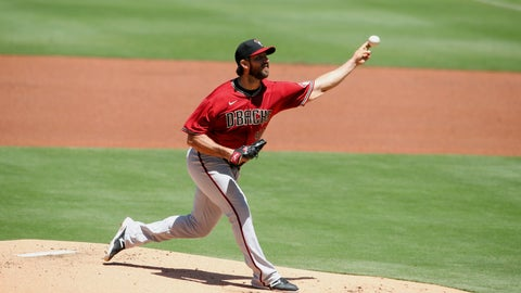 <p>               Arizona Diamondbacks starting pitcher Madison Bumgarner throws a pitch against the San Diego Padres in the first inning of a baseball game Sunday, Aug. 9, 2020, in San Diego. (AP Photo/Derrick Tuskan)             </p>