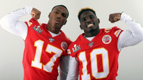 <p>               FILE - In this Jan. 27, 2020, filer photo, Kansas City Chiefs' Mecole Hardman (17) and Tyreek Hill (10) pose for a photo in Miami. The two Chiefs wide receivers have traded barbs about their speed ever since Hardman was chosen in the second round of last year's draft. Hardman and Hill both have world-class speed — that much was never in question — but just who was the fastest man in Kansas City wasn't settled until the two lined up in the team's indoor facility this past week. Hill won easily. Hardman copped to it on social media with a sad-face emoji. (AP Photo/Doug Benc, File)             </p>
