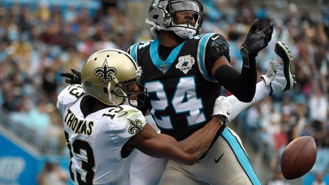 <p>               FILE - In this Sunday, Dec. 29, 2019, file photo, then-Carolina Panthers cornerback James Bradberry, right, breaks up a pass intended for New Orleans Saints wide receiver Michael Thomas (13) during the first half of an NFL football game in Charlotte, N.C. As the Giants and new coach Joe Judge get ready for their first training camp practice on Monday, Aug. 17, the one certainty is recent free agent signee James Bradberry will be one of the cornerbacks. The former Carolina Panther is one of the best in the league and gives New York a lock-down guy. (AP Photo/Mike McCarn, File)             </p>