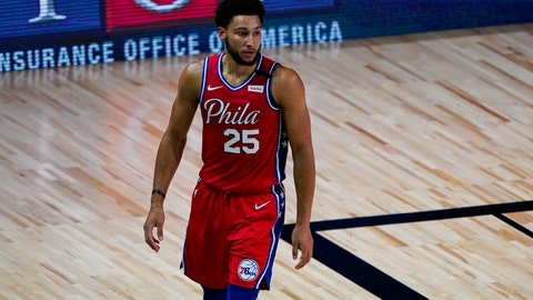 <p>               Philadelphia 76ers guard Ben Simmons (25) walks up the court during the first half of an NBA basketball game against the Washington Wizards Wednesday, Aug. 5, 2020 in Lake Buena Vista, Fla. (AP Photo/Ashley Landis)             </p>