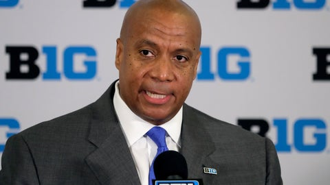 <p>               FILE - In this June 4, 2019, file photo,  Minnesota Vikings chief operating officer Kevin Warren talks to reporters after being named Big Ten Conference Commissioner during a news conference in Rosemont, Ill. After the Power Five conference commissioners met Sunday, Aug. 9, 2020, to discuss mounting concern about whether a college football season can be played in a pandemic, players took to social media to urge leaders to let them play.(AP Photo/Charles Rex Arbogast, File)             </p>