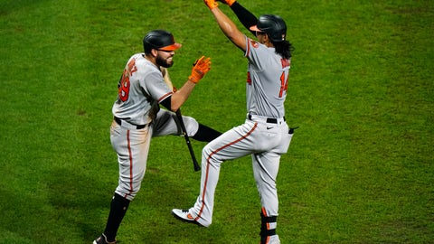 <p>               Baltimore Orioles' Rio Ruiz, right, and Renato Nunez celebrate after Ruiz's home run off Philadelphia Phillies pitcher Zach Eflin during the fifth inning of a baseball game, Wednesday, Aug. 12, 2020, in Philadelphia. (AP Photo/Matt Slocum)             </p>