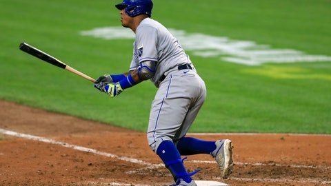 <p>               Kansas City Royals' Salvador Perez singles in the fifth inning during a baseball game against the Cincinnati Reds in Cincinnati, Wednesday, Aug. 12, 2020. (AP Photo/Aaron Doster)             </p>