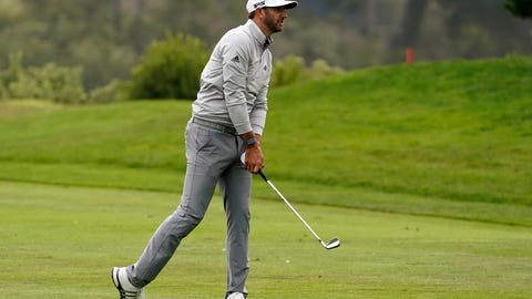 <p>               Dustin Johnson hits from the fairway on the 18th hole during the third round of the PGA Championship golf tournament at TPC Harding Park Saturday, Aug. 8, 2020, in San Francisco. (AP Photo/Charlie Riedel)             </p>