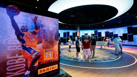 <p>               An exhibit at the Naismith Memorial Basketball Hall of Fame, in Springfield, Mass., shown Tuesday, June 23, 2020, features images of Los Angeles Lakers' Kobe Bryant. Bryant was among nine people, along with his 13-year-old daughter Gianna, killed in a helicopter crash in January of 2020, in California. The museum is scheduled to reopen in the beginning of July 2020 after a renovation.  (AP Photo/Steven Senne)             </p>