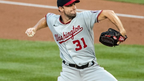 <p>               Washington Nationals' Max Scherzer (31) delivers a pitch during the first inning of a baseball game against the New York Mets Tuesday, Aug. 11, 2020, in New York. (AP Photo/Frank Franklin II)             </p>