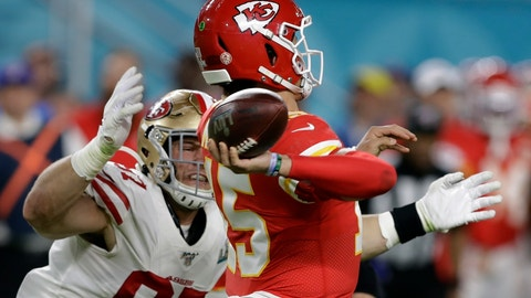 <p>               FILE - In this Feb. 2, 2020, file photo, Kansas City Chiefs quarterback Patrick Mahomes, right, passes under pressure from San Francisco 49ers' Nick Bosa, left, during the first half of the NFL Super Bowl 54 football game in Miami Gardens, Fla. The potential for a Bosa brothers reunion in the NFL will have to wait at least a few more years. Big brother Joey has signed a long-term extension with the Los Angeles Chargers and younger brother Nick has three years left on his rookie deal with the 49ers. So the pass rushing stars won't be linking up on the same team anytime soon. (AP Photo/Chris O'Meara, File)             </p>