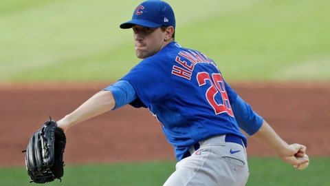 <p>               Chicago Cubs starting pitcher Kyle Hendricks delivers in the first inning in a baseball game against the Cleveland Indians, Wednesday, Aug. 12, 2020, in Cleveland. (AP Photo/Tony Dejak)             </p>