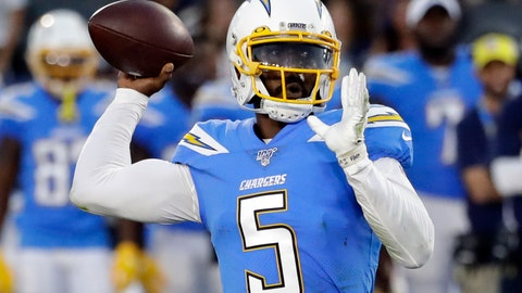 <p>               FILE - In this Aug. 25, 2019, file photo, Los Angeles Chargers quarterback Tyrod Taylor throws the ball downfield against the Seattle Seahawks during the first half of an NFL preseason football game in Carson, Calif. Taylor is expected to succeed Philip Rivers, who started the past 14 seasons before signing with Indianapolis. (AP Photo/Alex Gallardo, File)             </p>