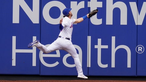 <p>               New York Mets left fielder Jeff McNeil injures himself while catching a fly ball during the first inning of a baseball game against the Washington Nationals at Citi Field, Thursday, Aug. 13, 2020, in New York. (AP Photo/Seth Wenig)             </p>