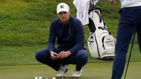 <p>               Jordan Spieth watches from the putting green during practice for the PGA Championship golf tournament at TPC Harding Park in San Francisco, Tuesday, Aug. 4, 2020. (AP Photo/Jeff Chiu)             </p>