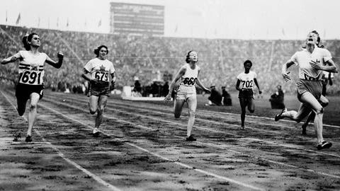 <p>               FILE - In this Aug. 2, 1948 file photo, Fanny Blankers-Koen, right, of Holland crosses the finish line in 11.9 seconds to win the Women's 100-meter Dash Final in the Olympic Games at Wembley Stadium, Eng. Britain's D. G. Manley (691) is second, Australia's S. B. Strickland (668) third Canada's V. Myers , hidden by camera finishes fourth while teammate Pat Jones (679) finished fifth, and Jamaica's E. Thompson (702) finished sixth.  Women were limited in what they could do at the 1948 London Olympics so it was ironic that the biggest personality was a mother of two. Fanny Blankers-Koen was 30, the oldest woman among the track and field entries and considered past her prime. But she won the 100 and 200 meters, the 80-meter hurdles and the 4x100-meter relay. She remains the only female track and field athlete to win four gold medals at a single Olympics. (AP Photo, File)             </p>
