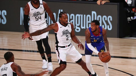 <p>               Denver Nuggets guard Monte Morris (11) is defended by Los Angeles Clippers forward Kawhi Leonard (2) in the first half of an NBA basketball game Wednesday, Aug. 12, 2020, in Lake Buena Vista, Fla. (Kim Klement/Pool Photo via AP)             </p>
