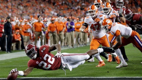 <p>               FILE - In this Jan. 7, 2019, file photo, Alabama's Najee Harris reaches for the end zone during the first half the NCAA college football playoff championship game against Clemson, in Santa Clara, Calif. After the Power Five conference commissioners met Sunday, Aug. 9, 2020, to discuss mounting concern about whether a college football season can be played in a pandemic, players took to social media to urge leaders to let them play.(AP Photo/David J. Phillip, File)             </p>