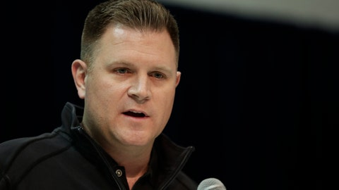 <p>               FILE - Green Bay Packers general manager Brian Gutekunst speaks during a press conference at the NFL football scouting combine in Indianapolis, in a Wednesday, Feb. 27, 201 file photo. Green Bay general manager Brian Gutekunst says Devin Funchess' decision to opt out for this season due to COVID-19 concerns isn't necessarily causing the Packers to get more aggressive in seeking help at the wide receiver position.  (AP Photo/Michael Conroy, File)             </p>