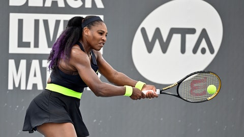 <p>               Serena Williams returns a shot to her sister Venus Williams during the WTA tennis tournament in Nicholasville, Ky., Thursday, Aug. 13, 2020. (AP Photo/Timothy D. Easley)             </p>