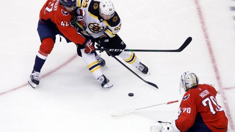 <p>               Washington Capitals defenseman Martin Fehervary (42) defends against Boston Bruins left wing Brad Marchand (63) as the play approaches Capitals goaltender Braden Holtby (70) in the net during third-period NHL hockey Stanley Cup qualifying round game action in Toronto, Sunday, Aug. 9, 2020. (Cole Burston/The Canadian Press via AP)             </p>