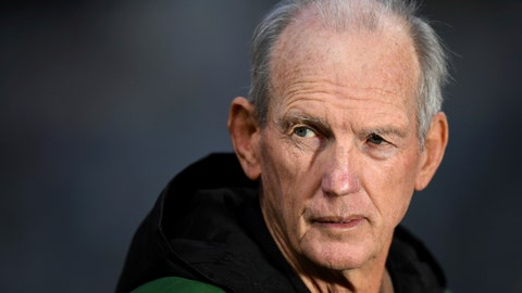 <p>               In this July 18, 2020, photo, National Rugby League Rabbitohs coach Wayne Bennett watches his players during a match in Sydney, Australia. Bennett could face a stint in 14-day quarantine after admitting he ate at a Sydney restaurant on Wednesday, Aug. 5, 2020, in a breach of the NRL's COVID-19 quarantine restrictions. (Joel Carrett/AAP Image via AP)             </p>