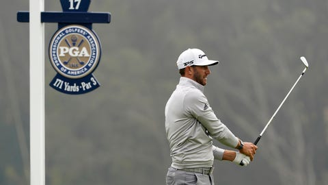 <p>               Dustin Johnson watches his tee shot on the 17th hole during the third round of the PGA Championship golf tournament at TPC Harding Park Saturday, Aug. 8, 2020, in San Francisco. (AP Photo/Charlie Riedel)             </p>